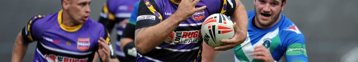 Warrington Wizards rugby player featuring a Love Rugby League sponsor on his shirt
